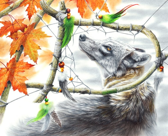 Dream Catcher Broken Dream ready to hang. Spirit Native American LARGE CANVAS Wolf Print by Peter Williams
