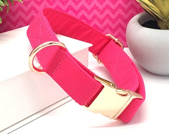 fa692524f1ab20 Solid Bright Hot Pink Dog Collar