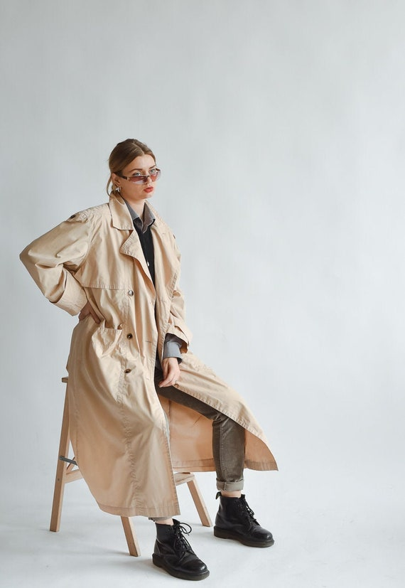 Vintage 80s Maxi Light Trench Coat in Peach Oversi