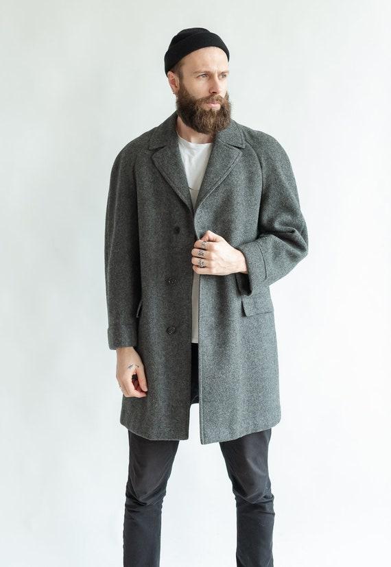 Vintage wool coat grey wool jacket tyrolian ethnic jacket m