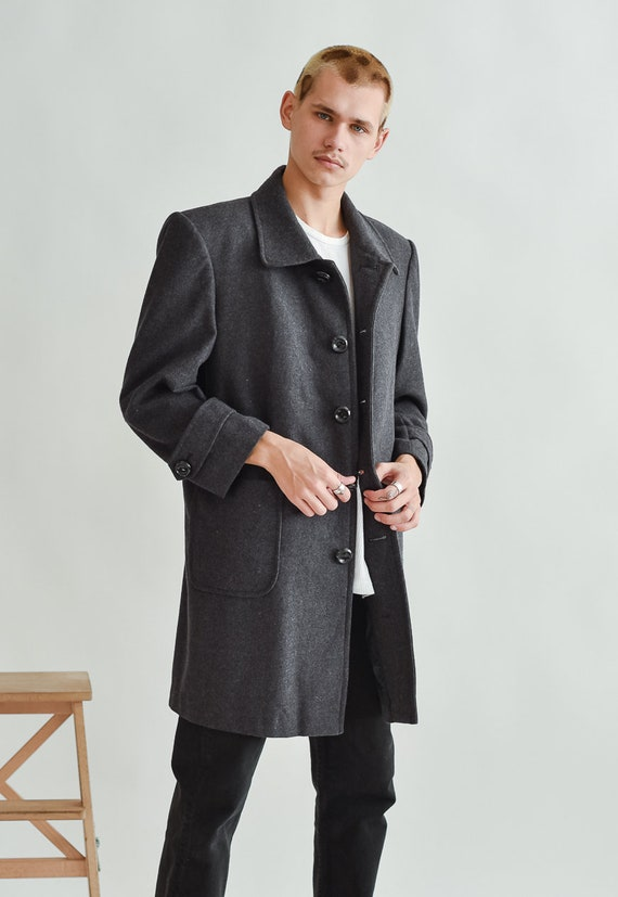 Vintage Straight Boxy Fit Coat in Grey Oversized