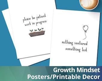 Growth Mindset Printable Posters, Inspirational wall art, Planner Dashboard, Classroom decor