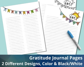 Gratitude Journaling Pages, Instant Download, Printable, Emotional Wellness, Self-Care Journal Pages
