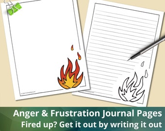 Anger & Frustration Journaling Pages, Instant Download, Printable, Emotional Wellness, Self-Care Journal Pages