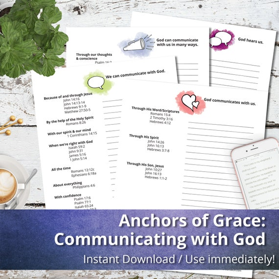 Anchors of Grace: Communicating with God, Digital Printables, Bible Study  pages