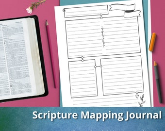 Scripture Mapping Journal: Bible Verse Mapping Pages, Instant Download, Printable, Bible Study
