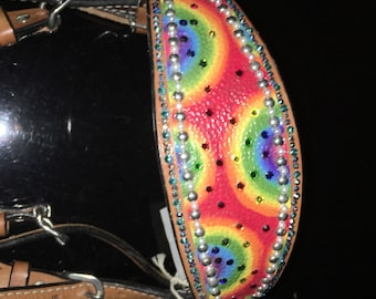 Sweet blinged rainbow headstall