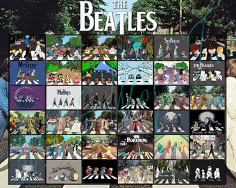 The Beatles Poster Abbey Road Parody Collage Print