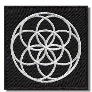28 X 28 cm Flower of life full embroidered back patch
