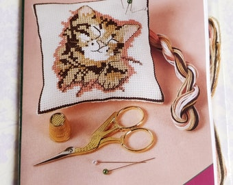Kitten pincushion KIT - Small Counted Cross Stitch KIT  - unopened sewing kit