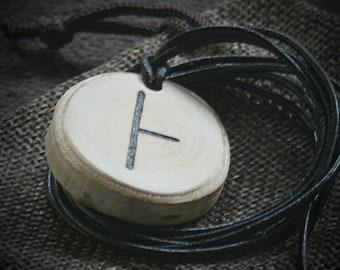 Ogham-Amulett gebrannt auf Birkenholz