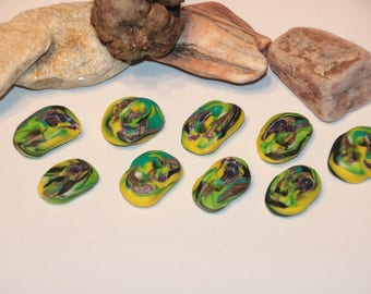 Fimo buttons for Macrium tinkering creatively and individually (polymer clay) Yellow turquoise handmade hand made
