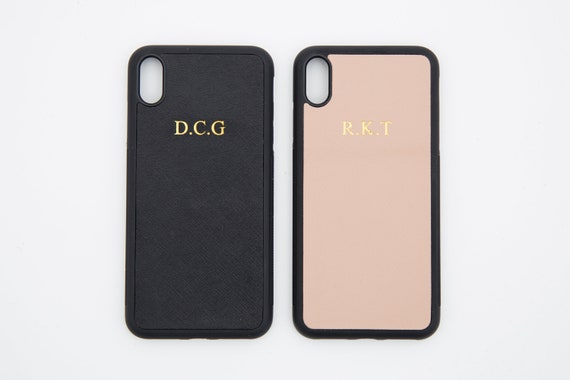 buy online 0090a bb2bf Personalized iPhone XS MAX, Saffiano leather, Customised initials iPhone XS  max case, embossed cover, monogrammed iphone case