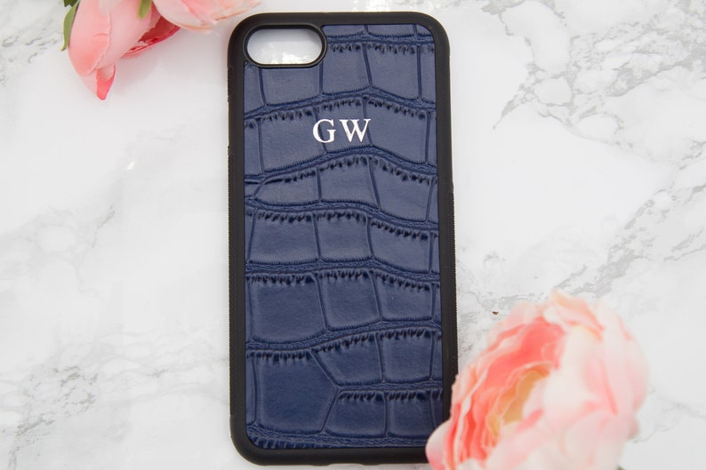 uk availability 7c9c9 ec84a Navy Blue Personalised Croc leather iphone 7 case, Customised iphone 8  case, embossed phone cover, monogrammed iphone birthday gifts