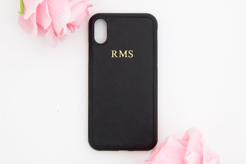 best sneakers 410a5 b180a Black Personalised IPHONE X / XS cover Smooth leather,Customised initials  iphone 10 case, embossed cover, monogrammed iphone birthday gifts