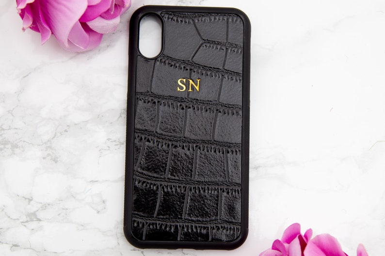 brand new 83698 1651a IPHONE X / XS case personalised croc skin leather, iphone 10 customised  case Black, embossed phone matte, monogrammed iphone X accessories