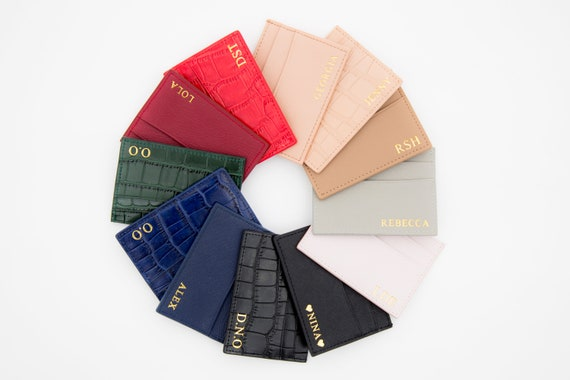 f2158e512909 Personalized Leather Card Holder Black red blue green