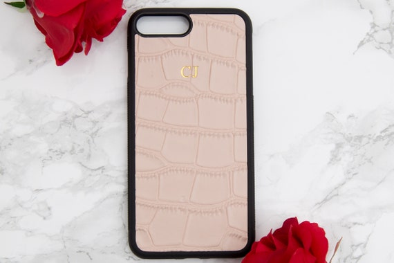 timeless design 76a17 001be Blush Pink Personalised Croc leather iphone 7 case, Customised iphone 8  case, embossed phone cover, monogrammed iphone birthday gifts