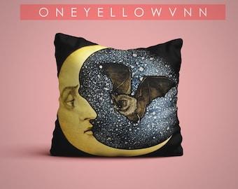 Decorative Pillow, moon and owl Pillow Cover, moon and owl print, Throw Pillow Cover, baby pillow, Home Decor, mon, owl Pillow cover.