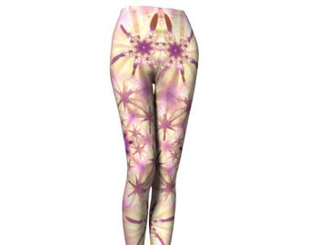 Women's Stretch Pants, Floral Leggings, Inspired Leggings, Workout Bottoms, Boho Tights, Low Rise Leggings, Eco Friendly Tights, Dance Pants