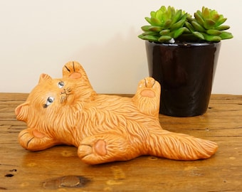 Fluffy Ceramic Persian Cat Lying on its Back, Scioto 1980