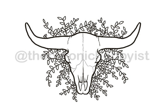 Cow Skull Coloring Page