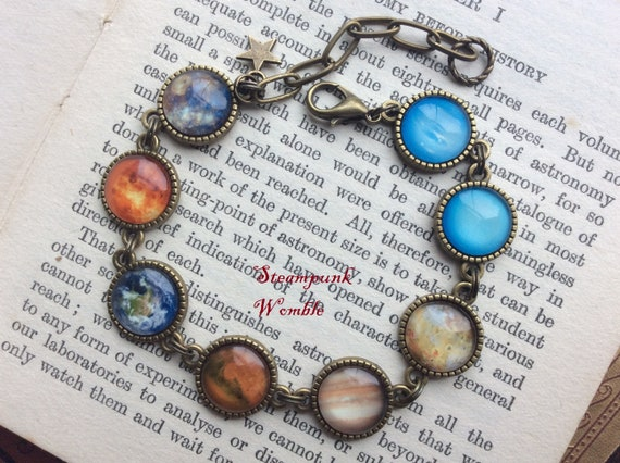 Planets bracelet, Space jewellery, Gift for space lover, Witchy things, Celestial jewelry, Astronomy gift, Star gazer, Glow in the dark