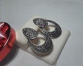 Estate Doorknocker Stye Marcasite Sterling Silver Post Earrings 9346