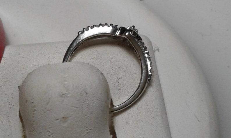 Estate .10cttw Natural White Diamond offset Open Heart 10Kt White Gold Ring #6617