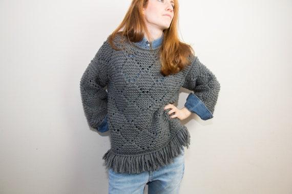 Marta Sweater Maglia Lana Ai Ferri Maglia A Rombi Con Frange