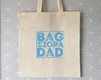 "Tote Bag Cymraeg ""Bag Siopa Dad/Tadcu/Taid"" Welsh Tote Bag ""Dad's/Grandpa's Shopping Bag"""