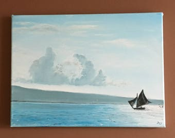 Haitian Sea view from Moulin-sur-mer, Original Oil by Seller