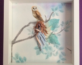 Handmade 3D Fairy holding a Swarovski 'Aquamarine' crystal in a  Picture Box Frame