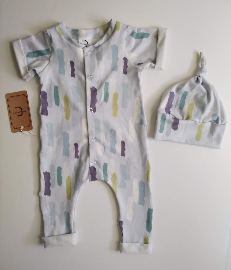 Unisex Work of art Organic Cotton Baby Sleeper beige and mint Romper painter artist baby Preemie /& Newborn Coming Home Outfit