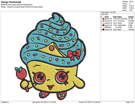 Shopkins Cupcake Queen Filled Embroidery Design Instant
