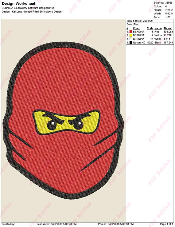 Kai Lego Ninjago Filled Embroidery Design Instant Download