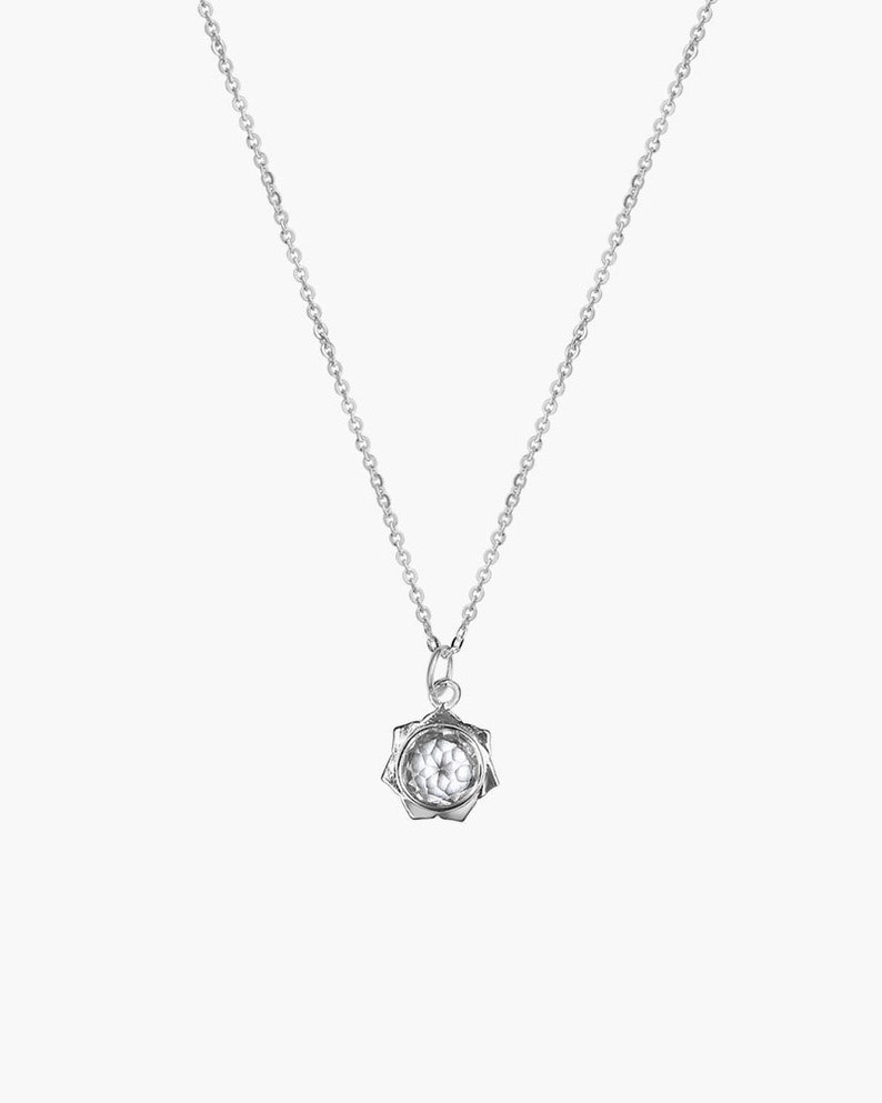 Lotus Necklace Sterling Silver Lotus Necklace Crystal Lotus Necklace Lotus Necklace