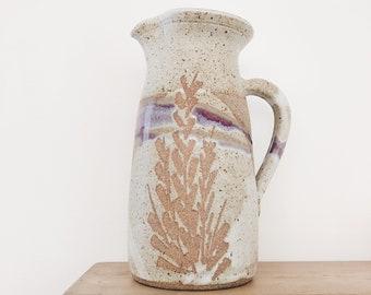 Beautiful vintage ceramic pitcher purple wheat
