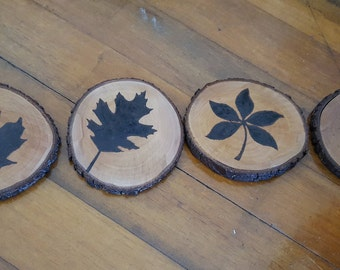 Leaves silhouette wooden coasters