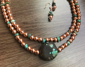 Copper and Turquoise Statement Necklace and Earring Set