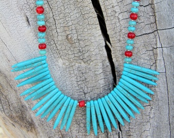 Avant Garde Turquoise Howlite Necklace With Bamboo Coral Accents