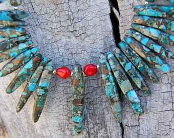 Hand Crafted Jasper Necklace With Bamboo Coral Accents