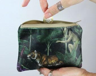 Jungle Babies Animals handmade fabric coin change purse card holder