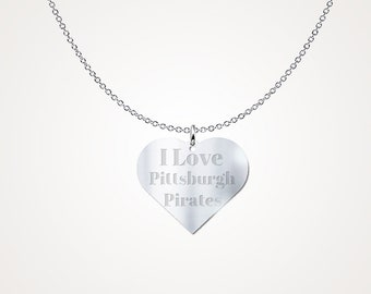 I Love Pittsburgh Pirates Sterling Silver Necklace Pendant MLB Jewelry