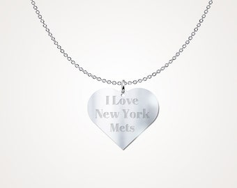 I Love New York Mets Sterling Silver Necklace Pendant MLB Jewelry