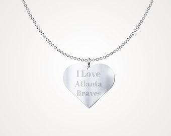 I Love Atlanta Braves Sterling Silver Necklace Pendant MLB Jewelry