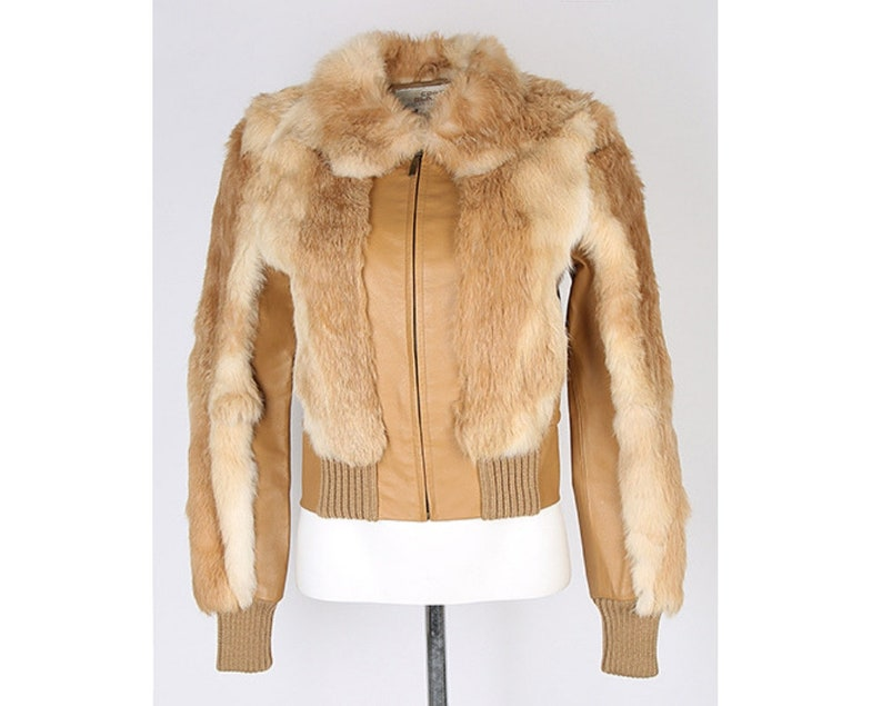 6cd8fe6bd2c 90s Does 70s Style Tan Leather & Rabbit Fur Zip Up Jacket XS