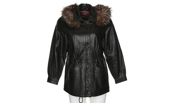 1990's Black Leather With Fur Trim Hooded Jacket