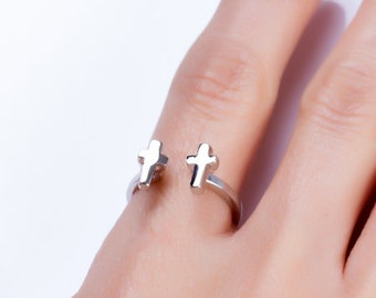 Double Cross Ring - Silver Double Ring - Rock Star Ring - Adjustable Ring - Silver Cross Ring - Gift for Women - Friendship Ring - 0008BR