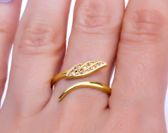 Gold Angel Wing Ring - Wing Ring - Gold Angel Ring - Gold Adjustable Ring - Gold Cz Ring - Best Gifts for Women - Mother's Day Gift - 0011BR